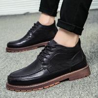 秋季新款韩版潮流中帮系带马丁鞋青年百搭英伦男鞋子男士休闲皮鞋
