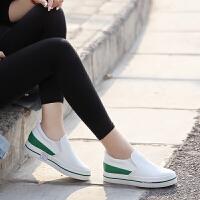 人本31009秋季新款小白鞋圆头平底乐福鞋内增高休闲鞋一脚蹬单鞋