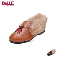 【2件3折后到手价:149.4元】百丽Belle童鞋18新款冬季儿童绒毛保暖时髦小皮鞋小甲虫时装鞋时尚高雅公主鞋女孩学
