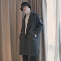 秋季韩版中长款毛呢大衣男士新款双排扣帅气风衣学生潮流秋装外套