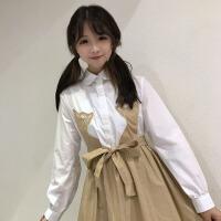 秋冬女装韩版衬衫裙学生小清新刺绣猫咪蓬蓬裙长袖连衣裙