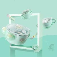 不锈钢吸盘碗婴儿碗勺儿童餐具套装 注水保温碗宝宝辅食碗