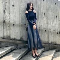 安妮纯秋装女2018新款小香风网红俏皮女神范套装时尚针织毛衣裙子两件套