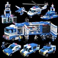 儿童积木拼装玩具益智男孩子塑料警察积木拼插玩具