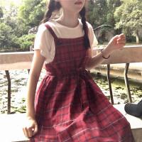 原宿风背带裙女bf宽松可爱韩版学生格子长裙显瘦森系少女过膝裙子