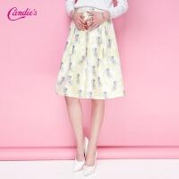 Candie's夏新款 时尚印花百褶裙甜美百搭半身裙30062073