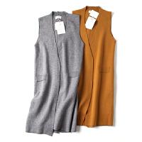 韩版秋季新款女装中长款毛衣开衫马甲百搭时尚无袖外套 JY3306
