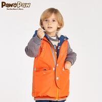 【2件2.5折 到手价:375】Pawinpaw宝英宝小熊童装冬季款男童撞色白鸭绒羽绒服长款儿童外套
