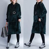 冬季新款套头连帽卫衣女金丝绒加绒加厚宽松大码中长款打底连衣裙