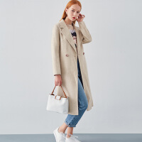 双面羊绒大衣女18秋冬季新款韩版中长款羊毛小个子赫本风毛呢外套 浅杏色 S