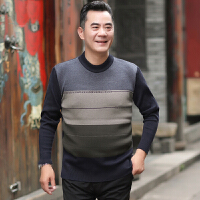 中老年男装爸爸加厚毛衣40-50岁宽松休闲中年套头长袖保暖针织衫