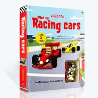 【全店300减100】预售 英文原版绘本 Usborne Wind-Up Racing Car 轨道玩具车书 发条赛车