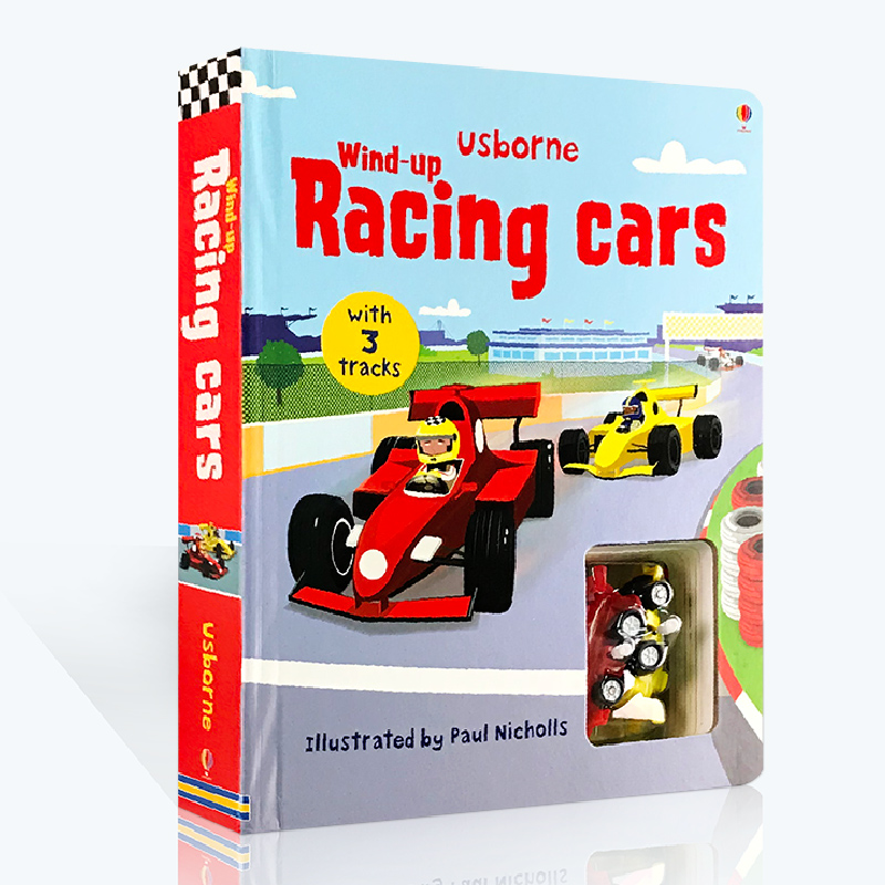 英文原版绘本 Usborne Wind-Up Racing Car 轨道玩具车书 发条赛车 急速车 大开本 儿童游戏玩具纸板书 附玩具 亲子游戏操作