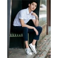 纯色口袋款青年休闲衬衫领polo衫 男装小清晰T恤 翻领青年
