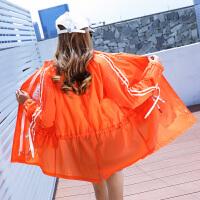 防晒衣中长女士夏季大码学生防晒服防紫外线沙滩防�鹕辣⊥馓�