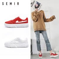 semir休闲板鞋女2018冬季新款时尚潮流加绒女士板鞋休闲板鞋女