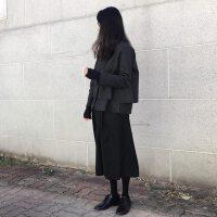 秋冬季套装女bf时髦气质裙潮黑色短款冬日两件套端庄大气复古港味