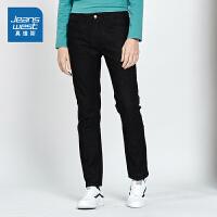 [5折到手价:99.5元,狂欢返场/仅限12.13-16]真维斯男装 2019秋装新款 时尚弹力黑色牛仔长裤