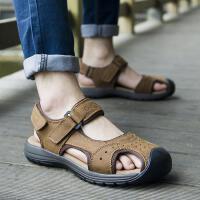 DAZED CONFUSED包头男款凉鞋青年夏韩版户外休闲洞洞鞋男士牛皮沙滩鞋