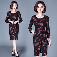 打底印花连衣裙秋冬季新款女装时尚气质修身前开叉一步裙