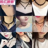 韩国锁骨链女短款颈带项圈脖子饰品颈链简约黑色脖链绑带脖颈项链
