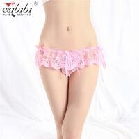 ESibibi 情趣内衣大码蕾丝情趣内裤t裤蝴蝶结诱惑T裤T166