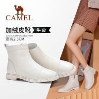 骆驼女鞋2019冬季新英伦风加绒短靴舒适百搭低跟真皮靴子女