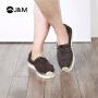 jm快乐玛丽春夏新款潮铆钉麻底舒适套脚条纹帆布鞋男鞋