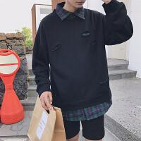 2018男士春季新款个性嘻哈破洞衬衫领假两件休闲卫衣外套潮男秋装