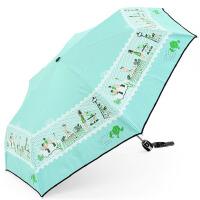 天堂 咖啡驿站 黑胶防紫外线遮阳晴雨伞 三折自动折叠太阳伞 自开面收