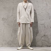 中国风男装秋季复古亚麻套装宽松大码棉麻长袖上衣长裤中式两件套