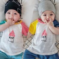 婴儿短袖T恤0-3-6个月新生儿衣服薄款洋气上衣周岁宝宝夏装潮衣
