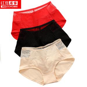 红豆女士内裤性感蕾丝镂空舒适中高腰三角内裤均码 三条装