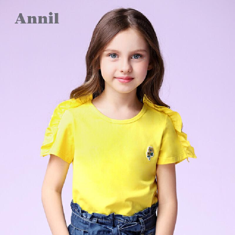 安奈儿童装女童甜美木耳边圆领短袖T恤夏装新款 可爱章仔图案,肩缝甜美荷叶边
