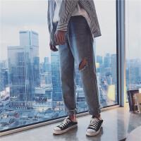 韩版男士时尚潮流修身牛仔裤浅色膝盖破洞裤个性男裤青年长裤夏装