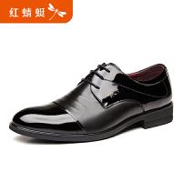 红蜻蜓男鞋春秋新品真皮系带皮鞋商务正装男士单鞋办公室低帮鞋