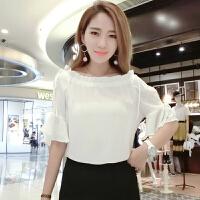 2018新款雪纺短袖女夏装韩版宽松小衫一字肩遮肚子喇叭袖上衣潮