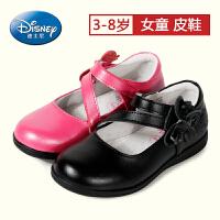 迪士尼小熊维尼童鞋2017年春秋中大童牛皮耐磨女童皮鞋舞蹈学生鞋