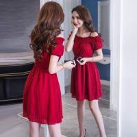 一字领连衣裙女夏季新款韩版修身显瘦吊带露肩红色a字裙短裙