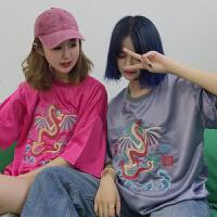 夏季女装韩版原宿风个性亮面龙刺绣短袖T恤宽松打底衫体恤上衣潮