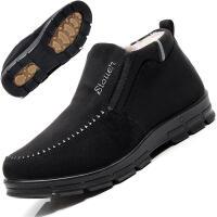 布鞋冬季老人男棉鞋保暖加绒 加厚中老年爸爸鞋高帮防滑男鞋