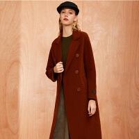 拉夏贝尔全羊毛毛呢大衣女冬季新款韩版宽松外衣双面呢中长呢子外套