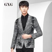 GXG西装男装 秋季男士潮流修身款都市时尚黑底白条斯文西服单西