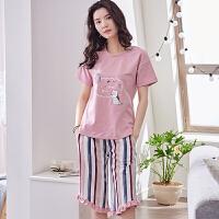 睡衣女夏套装短袖两件套纯棉夏季薄款休闲家居服韩版半袖七分短裤 GEY2045 160/M 85-100斤
