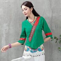 中国风女装民族风秋装新款棉麻绣花领口修身显瘦中袖T恤刺绣上衣