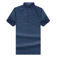 Youngor/雅戈尔新款商务男装丝光棉藏蓝短袖T恤SCS52428GJA/MJA