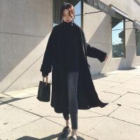 羊毛外套女中长款韩版秋冬2018新款宽松针织开衫加厚过膝羊绒大衣
