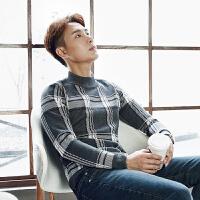秋冬男士拼色半高领格子毛衣个性打底潮流英伦时尚长袖针织衫