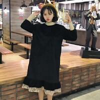 冬季女装新款韩版裙子蕾丝拼接打底裙显瘦加厚丝绒长袖连衣裙学生