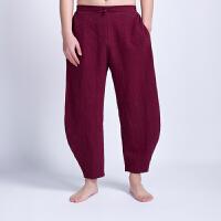 中式休闲男裤中国风男装青年大码宽松棉麻裤子民族服装男士亚麻裤
